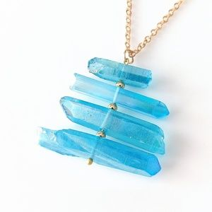 ONLY ONE! Aura quartz crystal point necklace